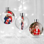 Glob personalizat cu poză, formă rotundă. Globul de Crăciun se personalizează prin inserţie foto pe ambele feţe