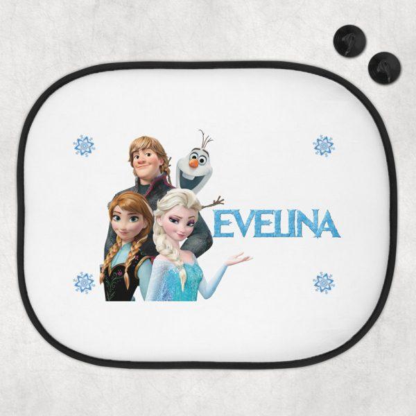 Parasolar auto cu Elsa, personalizat cu nume, set de 2 buc