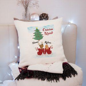 Pernă Best Friends pentru Crăciun, personalizată cu nume