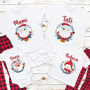 Set de tricouri pentru Crăciun, cu Moş Crăciun, Rudolf şi Om de zăpadă