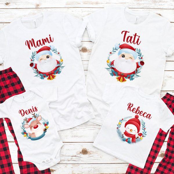 Set de tricouri pentru Crăciun, cu Moş Crăciun, Rudolf şi Omul de zăpadă