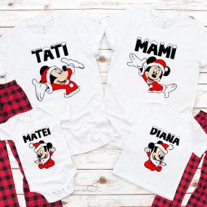 Crăciun cu Mickey Mouse, set de tricouri Disney pentru întreaga familie