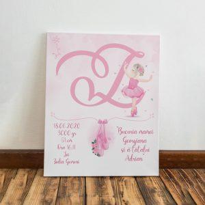 Tablou pentru copii, personalizat cu monograma, model balerină pentru fetite
