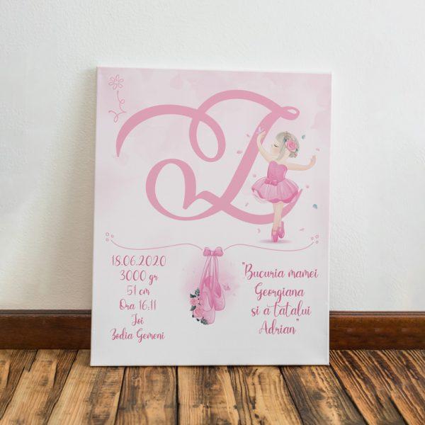 Tablou model balerină, pentru fetiţe, personalizat cu monogramă