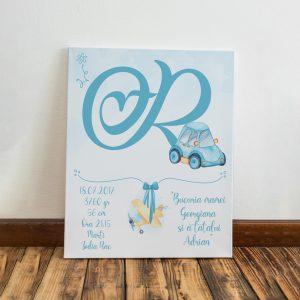 Tablou pentru copii, personalizat cu monograma, model maşinuţă pentru băieţei