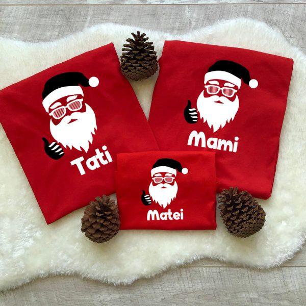 Set de tricouri cu Moş Crăciun, Cool Santa, cu mânecă lungă
