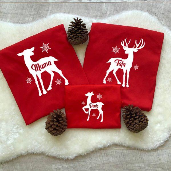 Tricouri cu Reni pentru Crăciun, cu mânecă lungă, culoare roşie
