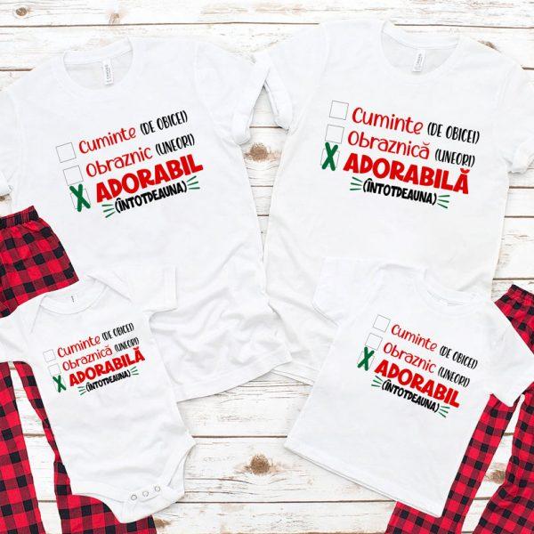 Tricouri hazlii pentru Crăciun, Cuminte, Obraznic, Adorabil