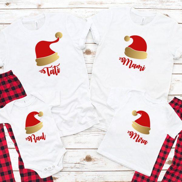 Tricouri cu Moş Crăciun, Santa's Hat, mânecă scurtă, pentru întreaga familie.