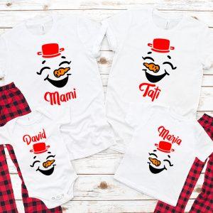 set de tricouri cu omul de zapada pentru toata familia