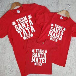 Set de tricouri Team Santa, cu mânecă lungă, personalizate cu nume
