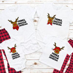 Tricouri cu Reni pentru Crăciun, mânecă scurtă, culoare albă