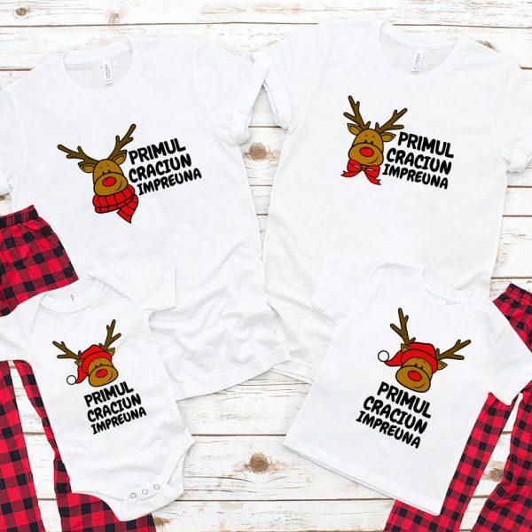 Tricouri pentru Crăciun cu Reni, mânecă scurtă