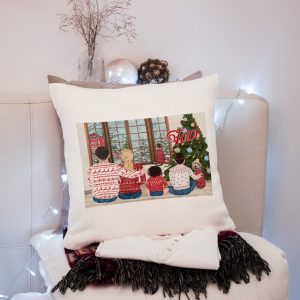 Pernă pentru familie, personalizată cu nume, pentru Crăciun