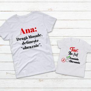 Set Crăciun de 2 tricouri pentru mamă şi copil, personalizate cu nume