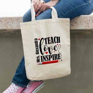 Cadou profesori - Geantă Teach, Love, Inspire personalizată