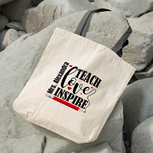 Cadou pentru profesori, geanta Teach, Love, Inspire personalizată cu nume