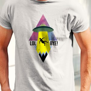 Tricou amuzant cu OZN, realizat din bumbac 100%