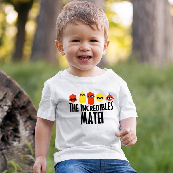 Tricou pentru copii, personalizat cu nume, The Incredibles
