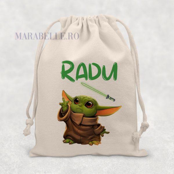 Săculeţ Baby Yoda personalizat, Star Wars