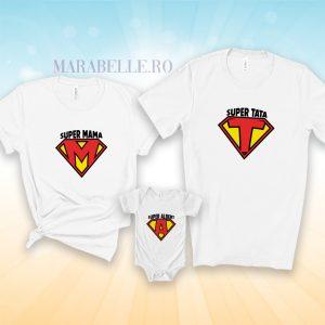 Tricouri cu Superman Logo, personalizate cu iniţiala numelui