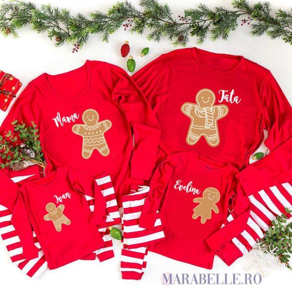Tricouri Gingerbread Family pentru Crăciun, mânecă lungă